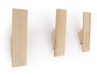 wall hook for the entryway or bathroom handmade from wood with hidden fixings and modern