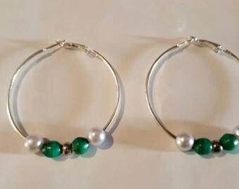 Green & Pearl Hoop Earrings