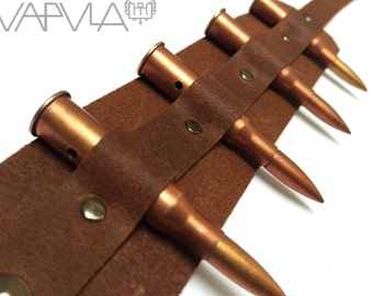 ANTEBELLVM / / Genuine Brown Leather Deactivated Rifle Bullets Thigh Garter Holster (military, fetish, steampunk)