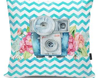 Decorative pillow Flower Camera