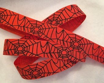 DAILY SPECIAL -Spider Web Halloween Grosgrain Ribbon 7/8""