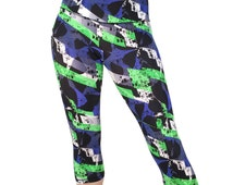 Workout Capris. Yoga Capri Leggings. Womens Capris. Cross Training Gym Capri Tights. Fitness Cropped Pant. Exercise Workout Pants. SML 201
