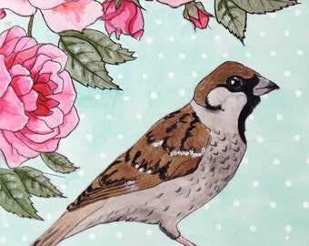 Sparrow and Roses: Print