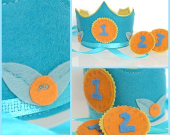 Waldorf Inspired Wool Felt Birthday Crown with Adjustable Numbers