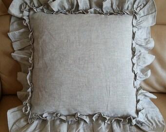vintage ruffle pillow covers in natural linen medium weight linen accented linen euro pillow sham