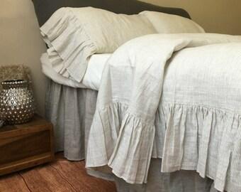 ruffle linen duvet cover features easy flow ruffles shabby
