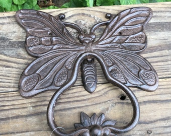 Butterfly Hand Made Cast Iron Door Knocker Rustic Antique Style