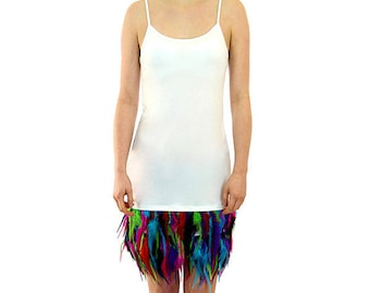 Majica- Feathered Dress - Cream with Multi-Coloured Feathers