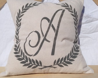 Laurel Wreath, Monogram, French Country, Farmhouse Style Pillow Cover - Canvas Drop Cloth