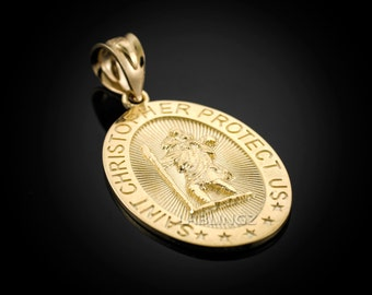 Gold Saint Christopher Protect Us Oval Medallion Charm Pendant