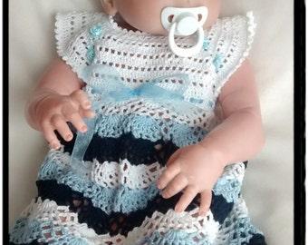 Cotton Dress, Crochet Baby Dress, Boutique First Birthday Gift, Newborn Baby Girls Dress,Organic cotton dress,,Ready To Ship,