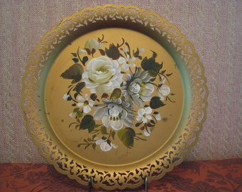 Vintage Tray Nashco Tole Painted Gold Metal New York White Flowers Rose Signed Vincent