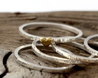 Heart ring. Tiny sterling silver set of 5 rings, stacking ring, hammered band ring
