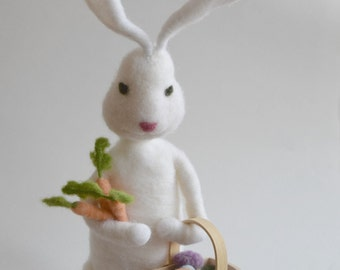 Large Posable Needle Felted Wool Easter Bunny