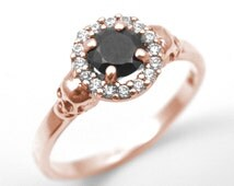 Skull Ring 9ct Rose Gold .70ct Diamond-Unique Round Brilliant Halo Black Diamond Hand Crafted Engagement Ring
