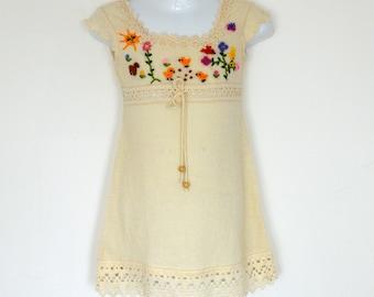 Girl Dress, Summer Girl Dress, Baby summer dress (Hand embroidered 100% organic)