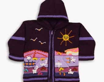 Girl pulple fleece lined knitted cardigan/sweater/jacket/ coat with hand embroidered applications