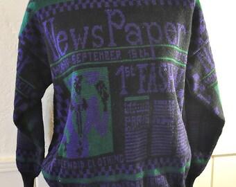 Vintage 1980s Newsprint Purple, Black and Green Vaatehuone Sweater