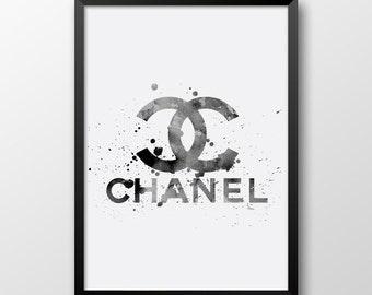 Watercolor chanel logo, Printable Coco Chanel decor, Fashion wall art, Coco chanel, Black and white decor, Modern wall decor 332