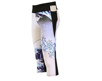 Custom Printed Digital Capri Leggings by Legs247.com