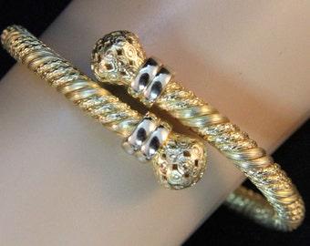 Estate 18K Solid Yellow Gold Wrap Bangle Bracelet 20.7 Grams