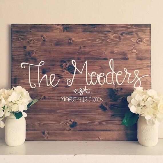 Wood sign, wedding decoration, last name wood sign, established sign, wedding gift, reception decoration