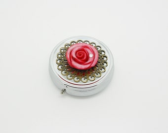 pillbox three compartments with a pink rose and bronze print