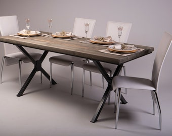 Reclaimed wood Industrial Dining Table with Steel X legs