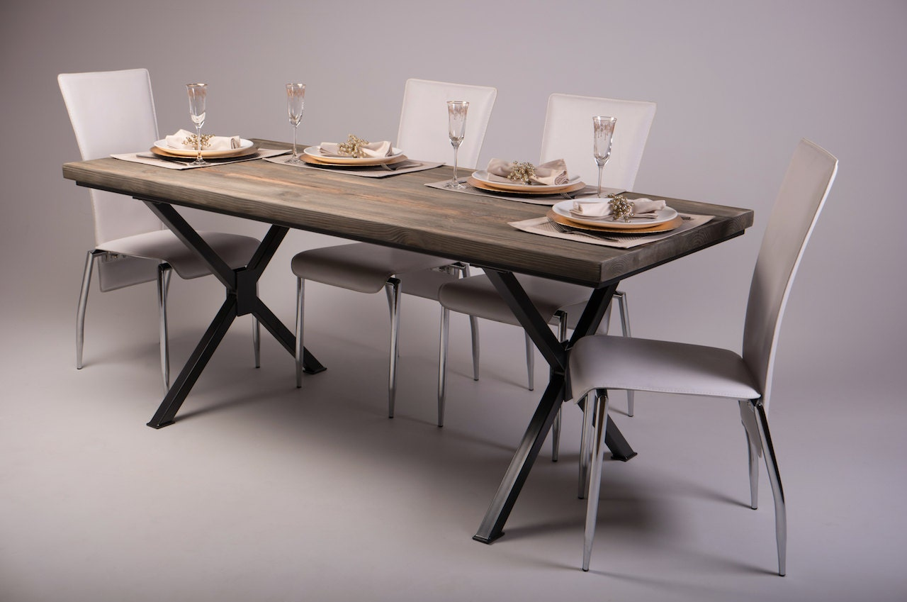 Reclaimed Wood Industrial Dining Table With Steel X By Cosywooduk