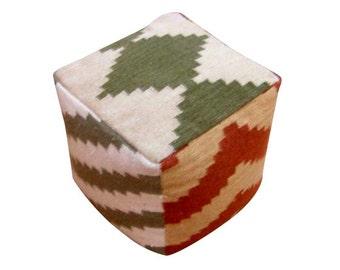aztec design ottoman/poof.PRE-STUFFED floor cushion seating