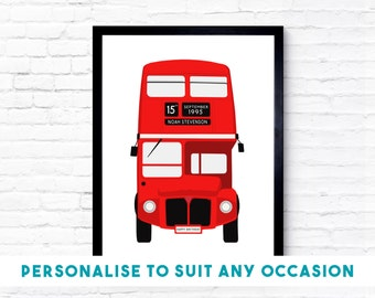 Personalised London 'Double-Decker' Bus, Wall Art, Birthday Gift, Illustration Art, Home Decor, Bedroom Decor, London Art, Gift Idea