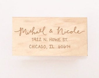 """Calligraphy Return Address Stamp - Hand Lettered - Small (1.25"""" x 2.5"""") or Large (1.5"""" x 3"""")"""