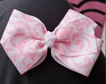 Pink and White Swirl Bow
