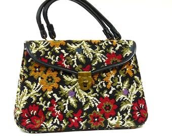 Vintage tapestry flowers bag