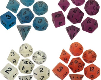 Polyhedral Dice Set Glow in the Dark 16mm Dungeons and Dragons Dnd Pathfinder d20 RPG Role Playing Games