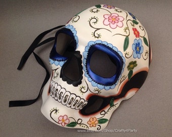 Mens Skull Masquerade Mask Day of the Dead Dia De Muertos Sugar Skull Mask