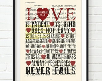 Vintage Bible page verse scripture - Love is patient.. 1 Corinthians 13 ART PRINT, UNFRAMED,dictionary, wedding anniversary christian gift