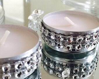 50 Dazzling Tea Lights Candles { Rhinestones, Wedding Decor, wedding candles, Home Decor, Candles, Centerpieces, tealights