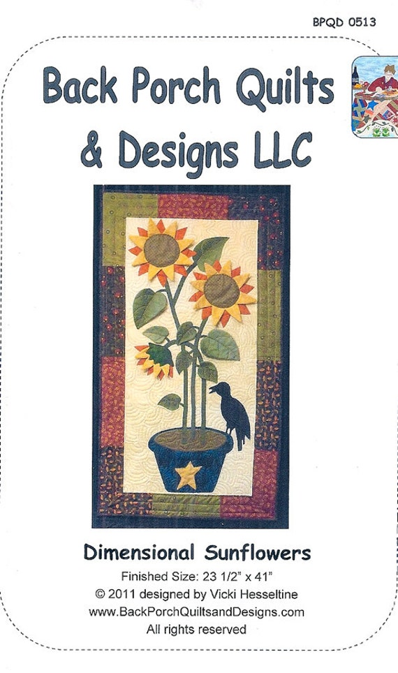 Back Porch Quilting Templates : Dimensional Sunflowers by Back Porch Quilts & Designs from TheWoolFeltFerret on Etsy Studio