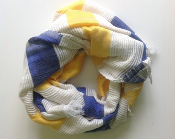 Cotton Scarf- Blue Yellow and White Striped scarf- cotton & silk Hand-woven scarf- Made in Ethiopia. scarves wraps - scarf for Women