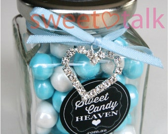 Wedding Favour, Valentines Day Gift, Bomboniere - Chocolates Candy Jar with Jewel Heart Charm