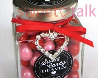 Wedding Favour, Valentines Day Gift, Bomboniere - Chocolates Candy Jar INCLUDES Jewel Heart Charm