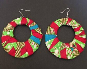 Ankara Fabric Hoop Earrings