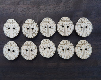 Wooden Ladybird Buttons (pack of 5 or 10)