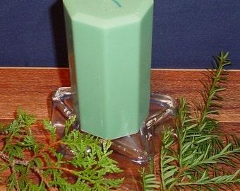"3"" octagon shaped green pillar candle, homemade"