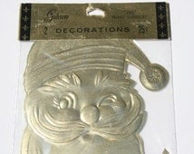 Vintage Denison Christmas Package Decoration, Santa Claus Jolly Face Gold Foil Package, Christmas Gold Gift Wrapping Decoration,