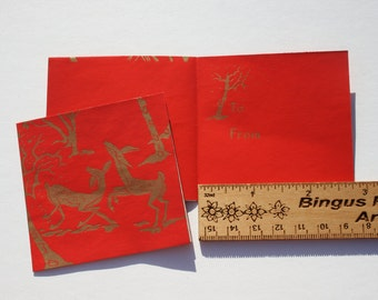 Vintage Christmas Red Gold Stylized Deer Tags, Christmas Gift Wrapping Decorating, 4 tags NOS