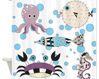 Fish Shower Curtain, Home Decor,Bath Decor, Shower Curtain, Ocean, Fish, Octopus, Fish Shower