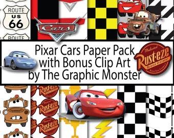 Pixar Cars Scrapbook Paper, Digital Paper Disney Clip Art, Cars Scrapbook Paper, Pixar Cars Digital Paper, Instant Download, Paper