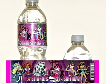 Printable personalized monster high water bottle label